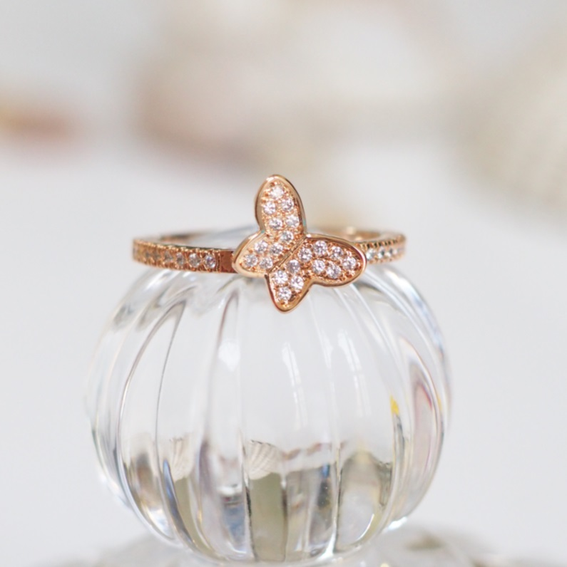 Rose Gold Butterfly Ring Simple Ring Animal Ring Cute Ring Cool Ring Bri